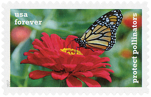 2017 First-Class Forever Stamp - Protect Pollinators: Monarch Butterfly on a Red Zinnia