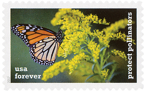 2017 First-Class Forever Stamp - Protect Pollinators: Monarch Butterfly on a Goldenrod