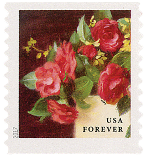 2017 First-Class Forever Stamp - Flowers from the Garden (coil): Red Camellias in a Yellow Vase
