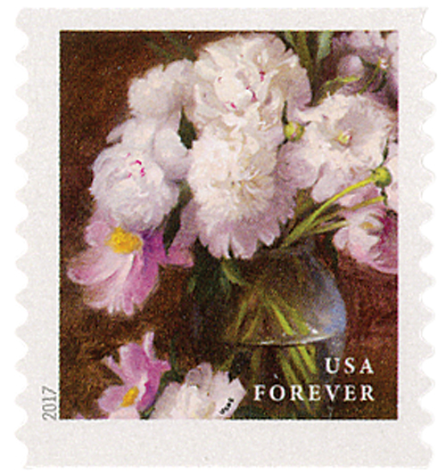 2017 First-Class Forever Stamp - Flowers from the Garden (coil): White and Pink Peonies in a Clear Vase