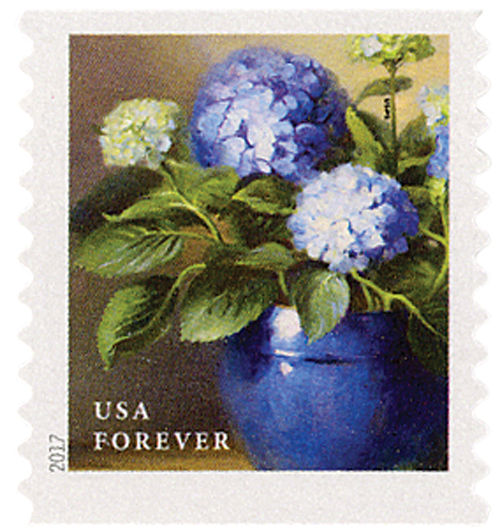 2017 First-Class Forever Stamp - Flowers from the Garden (coil): Blue Hydrangeas in a Blue Pot