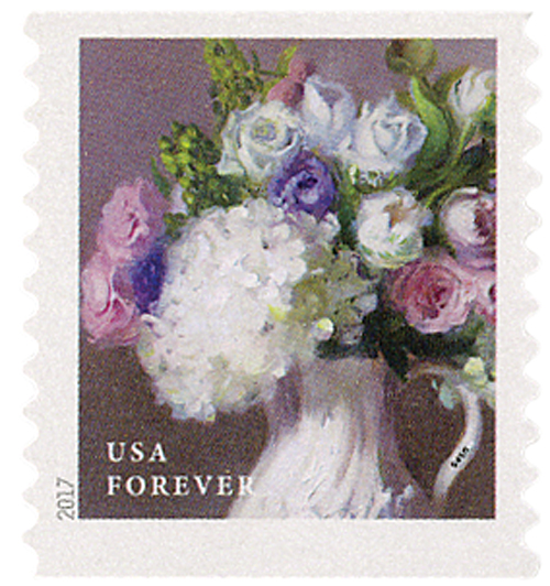 2017 First-Class Forever Stamp - Flowers from the Garden (coil): White Hydrangeas with Roses in a White Vase