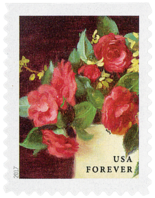 2017 First-Class Forever Stamp - Flowers from the Garden (booklet): Red Camellias in a Yellow Vase