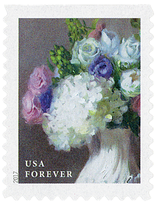 2017 First-Class Forever Stamp - Flowers from the Garden (booklet): White Hydrangeas with Roses in a White Vase