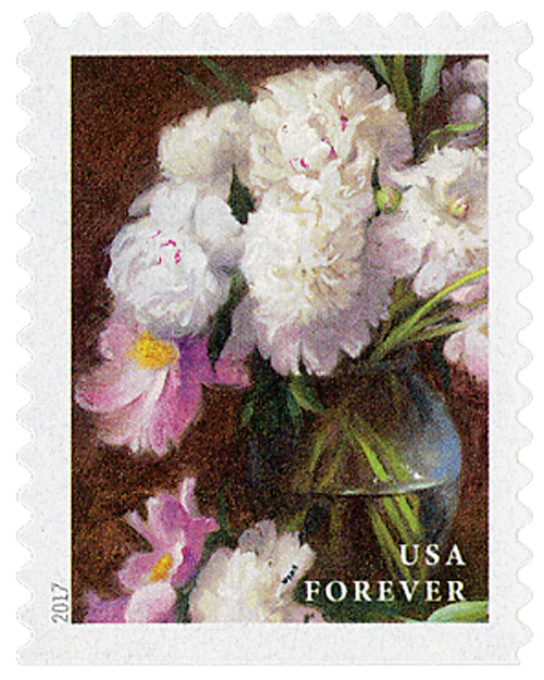 2017 First-Class Forever Stamp - Flowers from the Garden (booklet): White and Pink Peonies in a Clear Vase