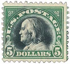 1918 $5 Franklin, deep green and black