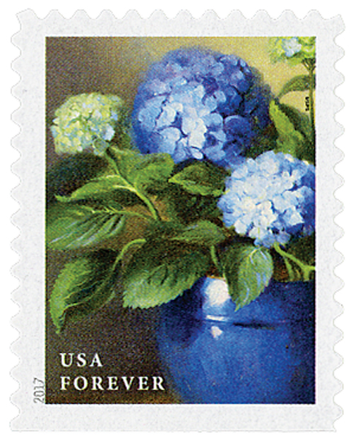 2017 First-Class Forever Stamp - Flowers from the Garden (booklet): Blue Hydrangeas in a Blue Pot