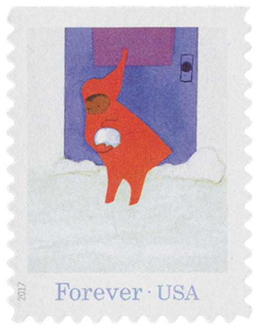 "2017 First-Class Forever Stamp - ""The Snowy Day"": Peter Making a Snowball"