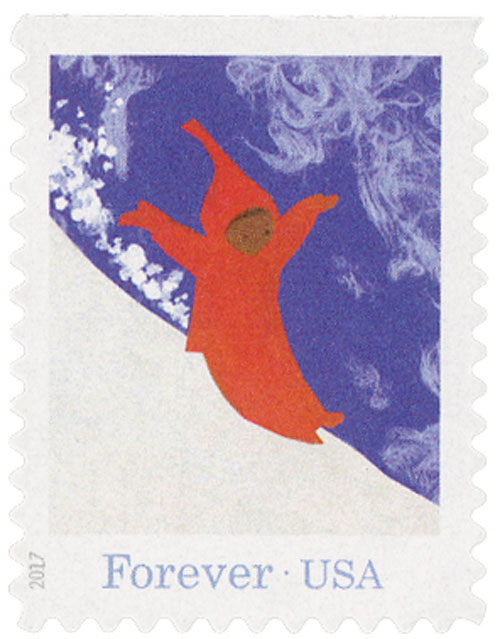 "2017 First-Class Forever Stamp - ""The Snowy Day"": Peter Sliding Down a Hill of Snow"