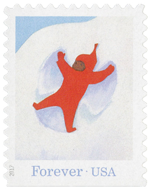 "2017 First-Class Forever Stamp - ""The Snowy Day"": Peter Making a Snow Angel"