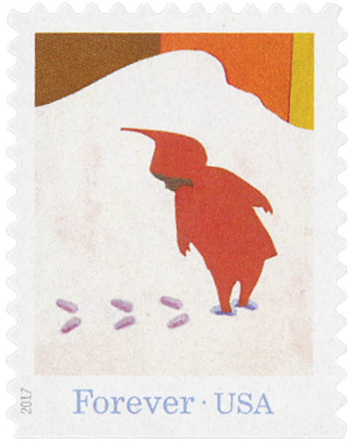 "2017 First-Class Forever Stamp - ""The Snowy Day"": Peter Looking at His Footprints in the Snow"