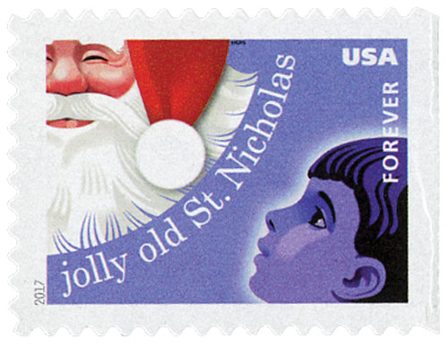 2017 First-Class Forever Stamp - Contemporary Christmas: 'Jolly Old St. Nicholas'