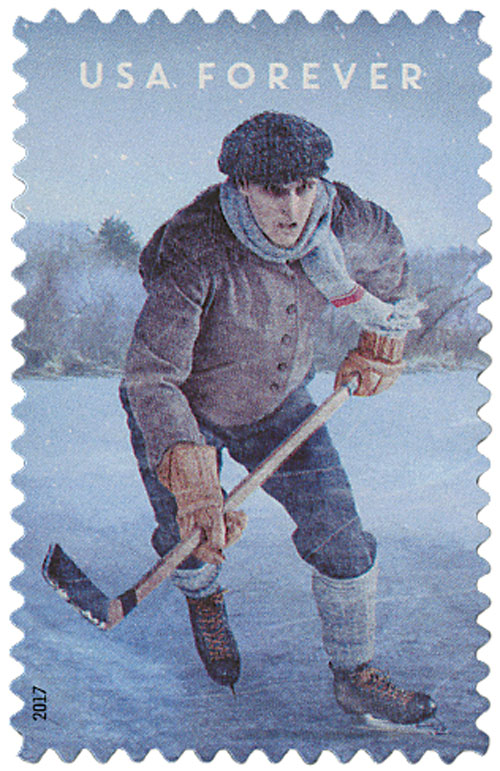 2017 First-Class Forever Stamp - History of Hockey - Vintage