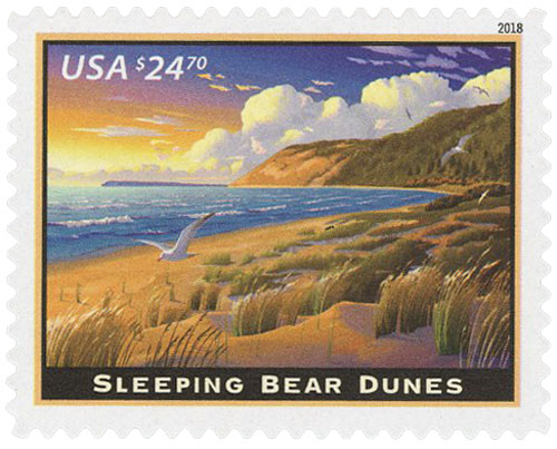 2018 $24.70 Sleeping Bear Dunes, Express Mail