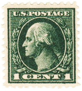 1918 1c Washington, dark green