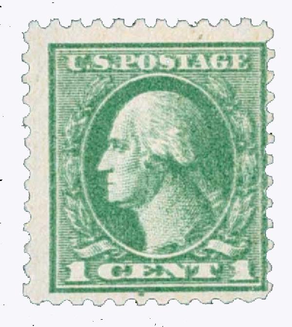 1918 1c Washington, gray green, double impression
