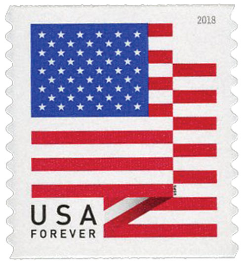 2018 First-Class Forever Stamp - US Flag with Micro Print on Right 5th White Stripe (BCA coil)