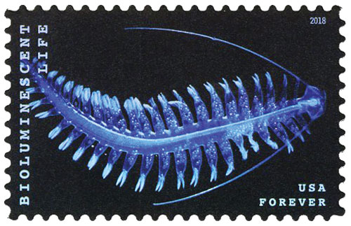 2018 First-Class Forever Stamp - Bioluminescent Life: Marine Worm (Plankton)