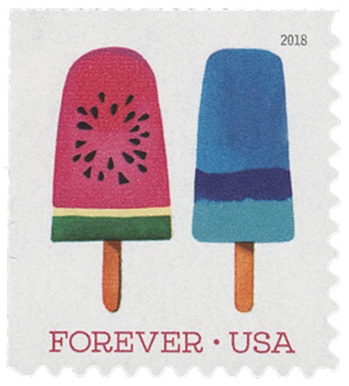 2018 First-Class Forever Stamp - Pink with Circular Seed Design Popsicle