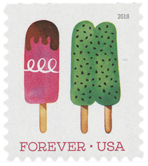 2018 First-Class Forever Stamp - Double Green Popsicle with Brown Specks