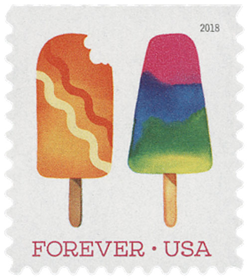2018 First-Class Forever Stamp - Orange Popsicle with Diagonal Zig Zags