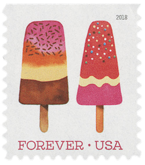 2018 First-Class Forever Stamp - Multicolor Popsicle with Brown Bottom