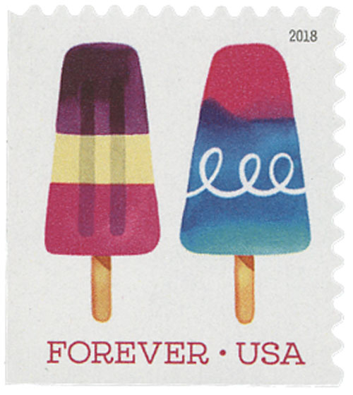 2018 First-Class Forever Stamp - Pink and Blue Popsicle with Curlicue