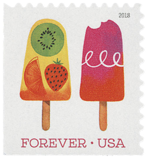 2018 First-Class Forever Stamp - Yellow Popsicle with Three Fruit Design