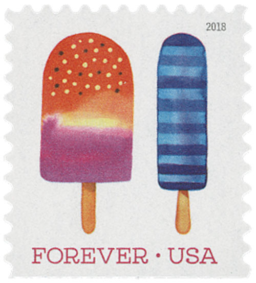2018 First-Class Forever Stamp - Dark and Light Blue Horizontal Striped Popsicle