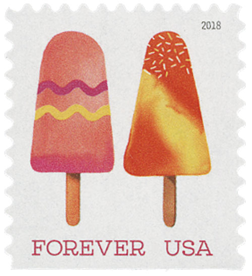 2018 First-Class Forever Stamp - Pink Popsicle with Two Zig Zags