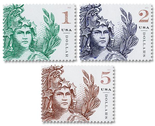 2018 Statue of Freedom, 3 Stamps