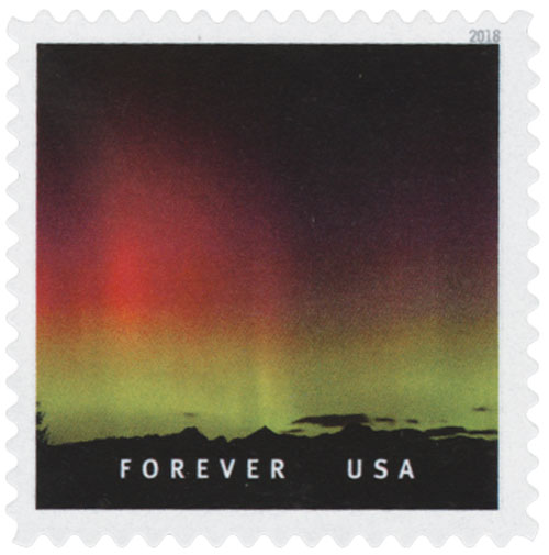 2018 First-Class Forever Stamp - Norhtern Lights Over Three Fingers Mountain, Washington
