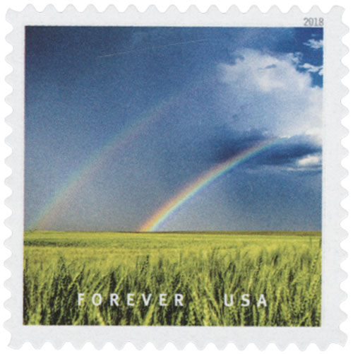 2018 First-Class Forever Stamp - Double Rainbow Over a Field in Kansas