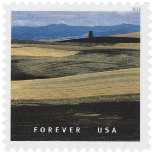2018 First-Class Forever Stamp - Plowed Wheat Fields in Palouse Hills, Washington