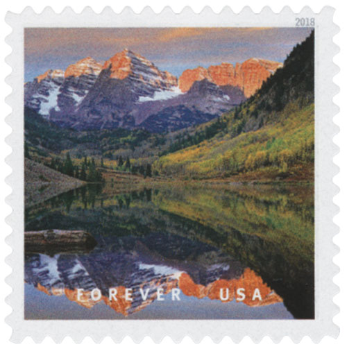 US #5298l features the Maroon Bells-Snowmass Wilderness in Colorado. Click image to order.