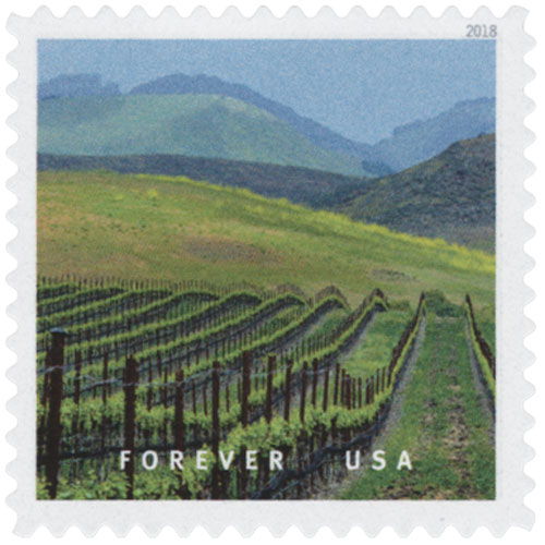 2018 First-Class Forever Stamp - Edna Valley in San Luis Obispo County, California