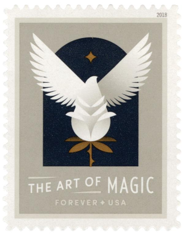 2018 First-Class Forever Stamp - The Art of Magic: Bird Emerging from a Flower