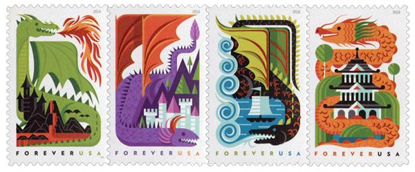 2018 First-Class Forever Stamp - Dragons
