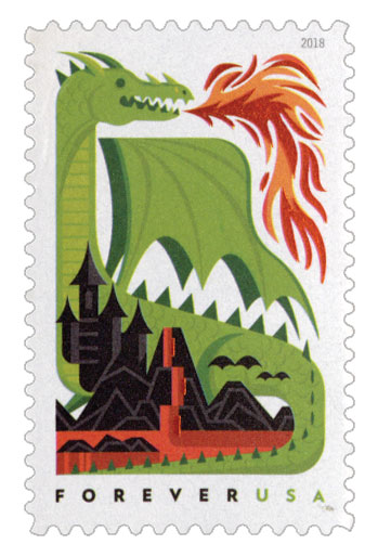 2018 First-Class Forever Stamp - Dragons: Green Fire-Breathing Dragon