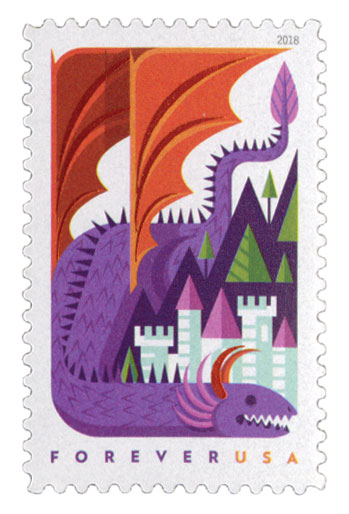 2018 First-Class Forever Stamp - Dragons: Purple Dragon with Orange Wings