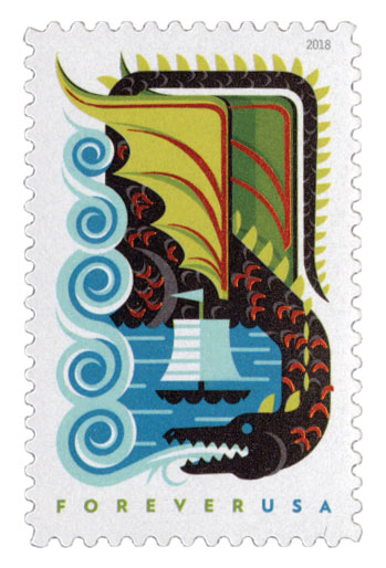 2018 First-Class Forever Stamp - Dragons: Black Dragon with Green Wings