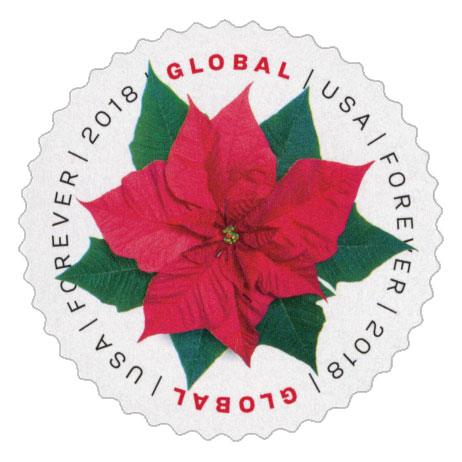 2018 Global Forever Stamp - Poinsettia