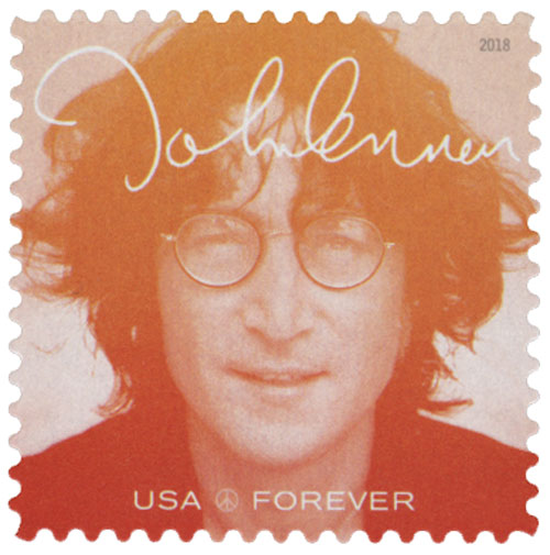 2018 First-Class Forever Stamp - Music Icons Series: John Lennon - Red