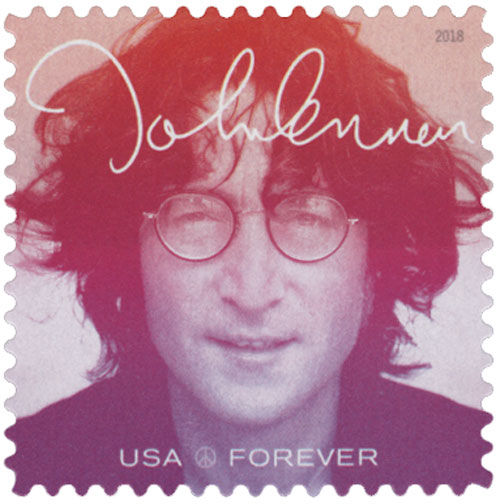 2018 First-Class Forever Stamp - Music Icons Series: Jonh Lennon - Red/Violet