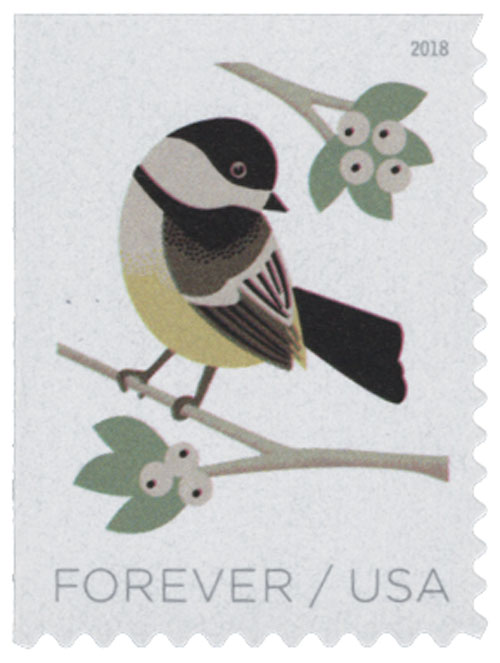 2018 First-Class Forever Stamp - Birds in Winter: Chickadee