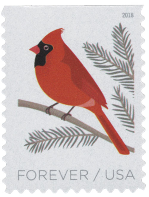 2018 First-Class Forever Stamp - Birds in Winter: Cardinal