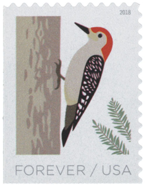 2018 First-Class Forever Stamp - Birds in Winter: Woodpecker