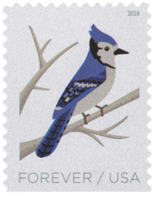 2018 First-Class Forever Stamp - Birds in Winter: Blue Jay