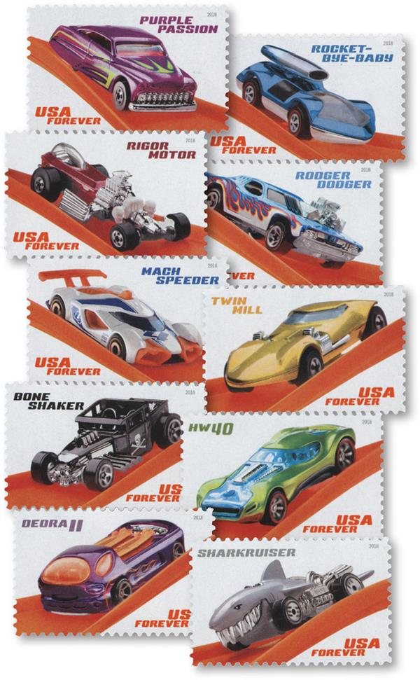 2018 First-Class Forever Stamp - Hot Wheels