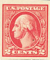 1920 2c Washington, imperforate, carmine, type V